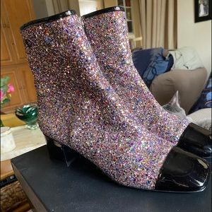 CHANEL GLITTER SHORT BOOTS SIZE 41